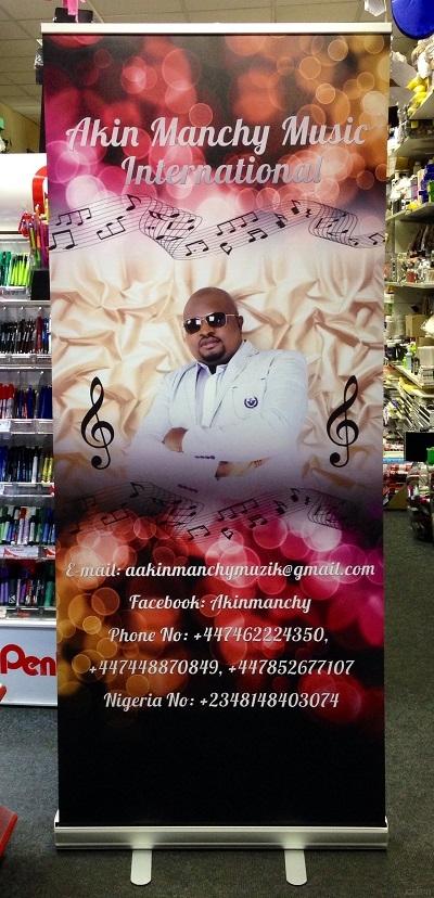 iceman roll-up banner stand Mr Akin music