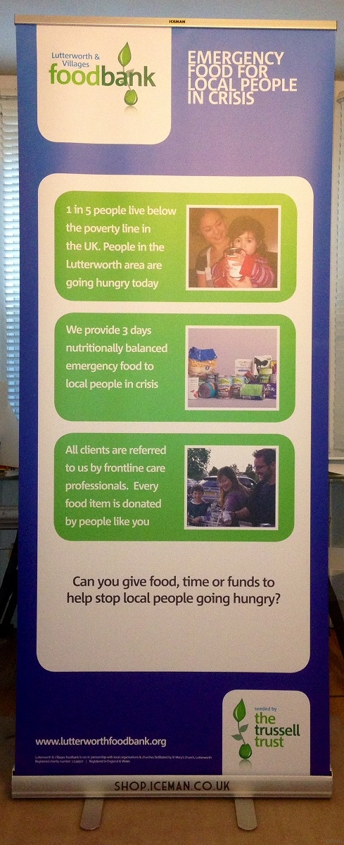 iceman roll up stand Lutterworth Food Bank Centre, Leicestershire
