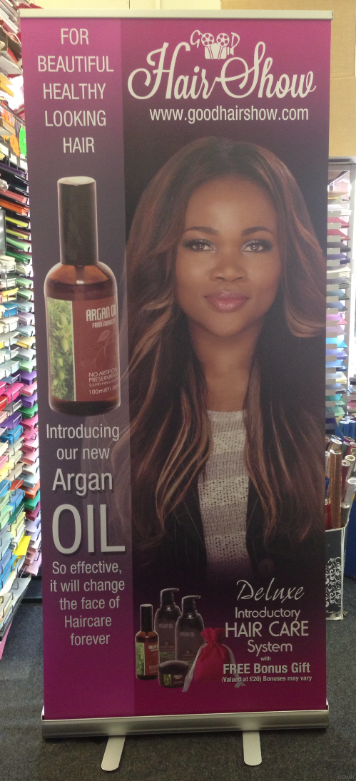iceman roller banner stand - hair show