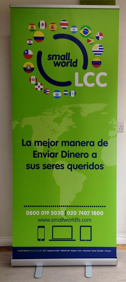 LCC money transfers Roller banner stand